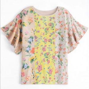 Zara | Loose Floral Flounce Sleeve Top